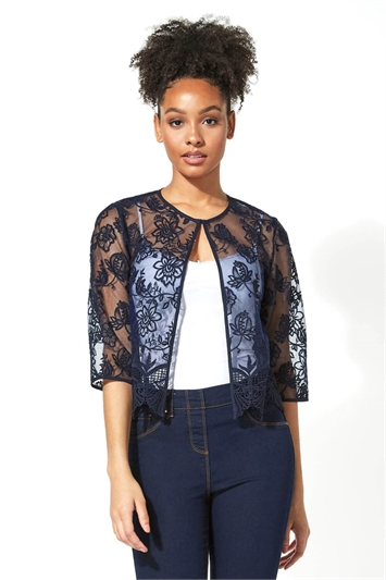 Short Floral Embroidered Lace Jacket