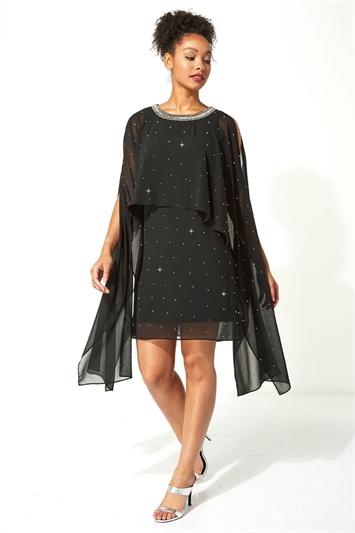Diamante Embellished Split Sleeve Dress