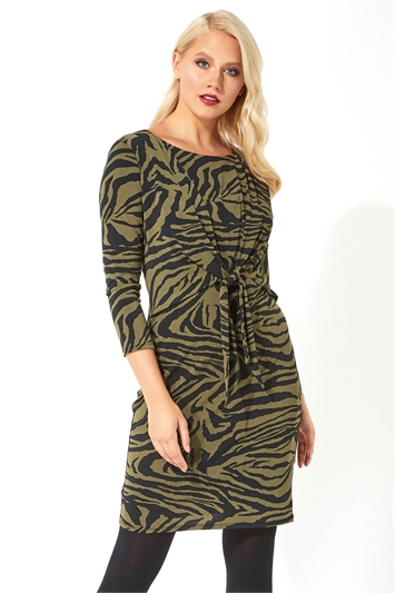 Animal Print Tie Front Shift Dress