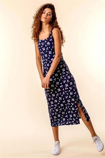 Palm Print Jersey Midi Dress