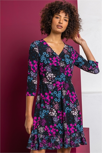 Purple Floral Print Ruched Mini Dress, Image 1 of 5