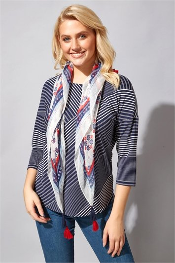 Stripe Print Top with Scarf