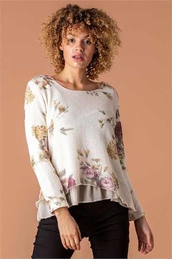 Floral Print Overlay Jumper