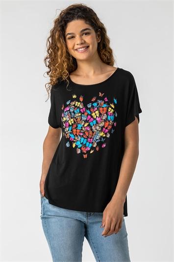Butterfly Heart Print T-Shirt