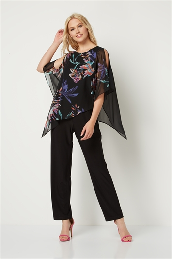 Tropical Print Chiffon Overlay Jumpsuit