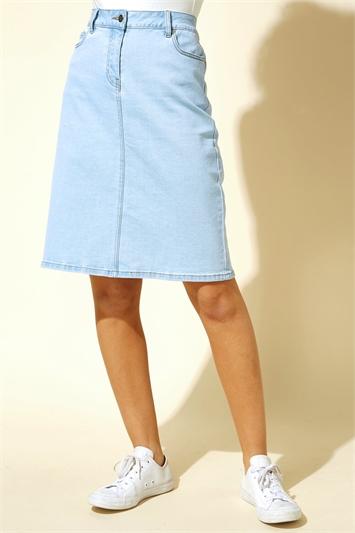 Light Blue A Line Knee Length Denim Skirt