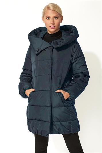 Midnight-Blue Duvet Wrap Longline Padded Coat, Image 1 of 3