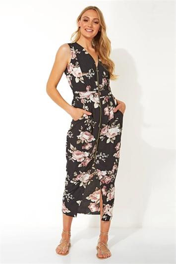 Floral Zip Front Midi Dress
