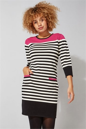 Stripe Pocket Knitted Shift Dress