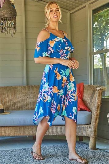 Tropical Floral Hanky Hem Cold Shoulder Dress