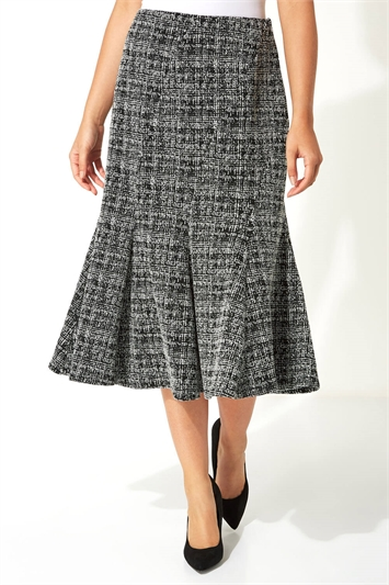 Fit and Flare Textured Midi Skirt