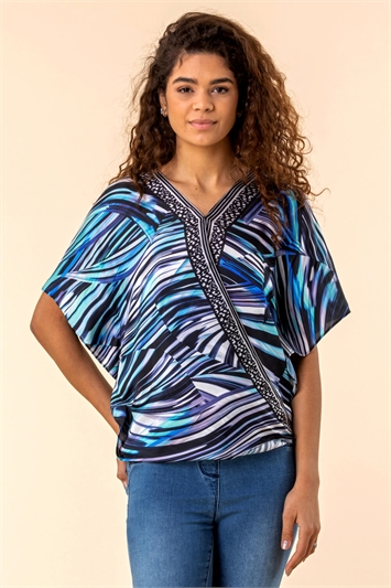 Abstract Border Printed Top
