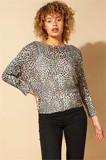 Animal Print Slash Neck Jumper
