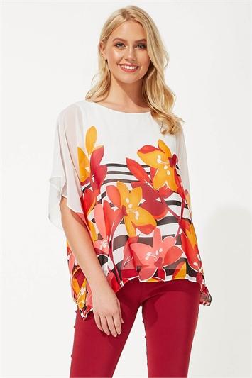 Floral Stripe Print Chiffon Top