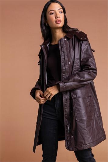 Chocolate Waxed Longline Hooded Coat