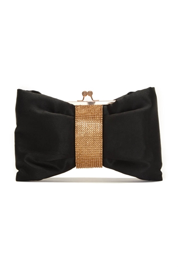 Diamante Embellished Bow Clutch Bag