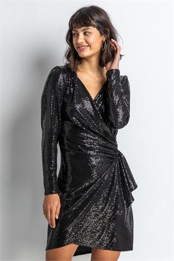 Black Sparkle Embellished Wrap Dress, Image 1 of 4