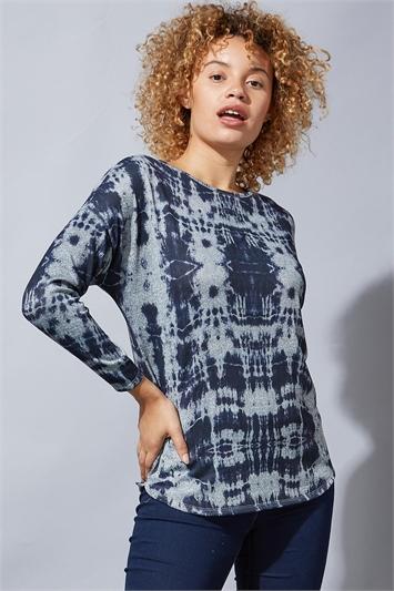 Tie Dye Print Jersey Tunic Top