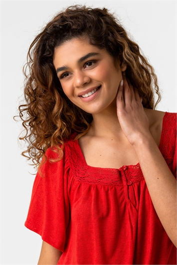 Red Lace Detail Square Neck Top