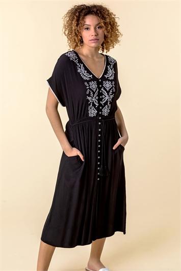 Black Embroidered Button Through Midi Dress