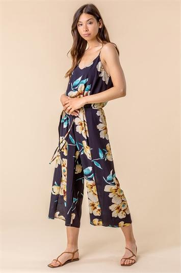 Floral Print Split Leg Jumpsuit