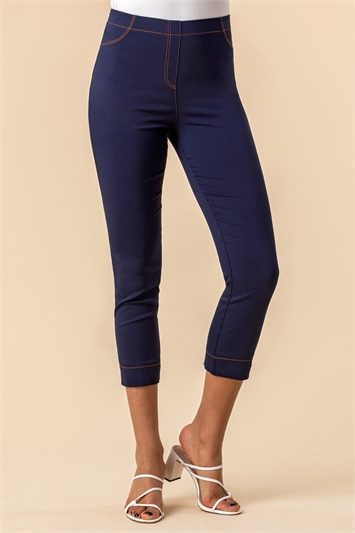 Stitch Detail Cropped Stretch Trousers