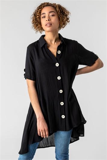 Black Asymmetric Button Detail Pocket Shirt