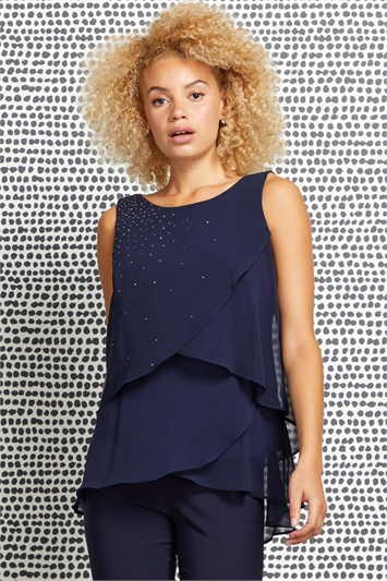 Embellished Chiffon Layered Top