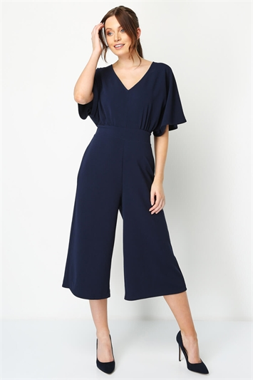 Plain Wrap Culotte Jumpsuit
