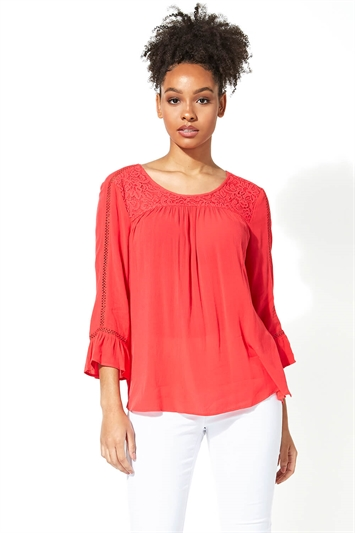 Lace Detail Crinkle Smock Top