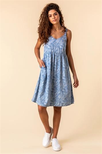 Tropical Print Strappy Sun Dress