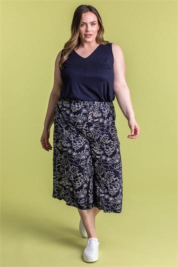 Curve Floral Print Culotte Trousers