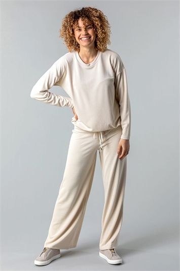 Natural Soft Jersey Wide Leg Lounge Pants