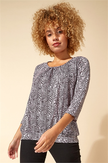 Abstract Animal Print Blouson Top
