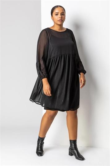 Black Curve Chiffon Lurex Stripe Smock Dress