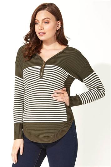 Zip Front Textured Stripe Top