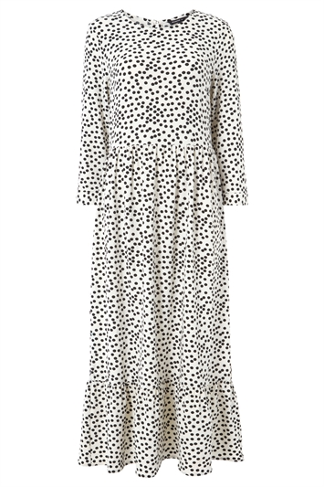 Polka Dot Print Tiered Maxi Dress