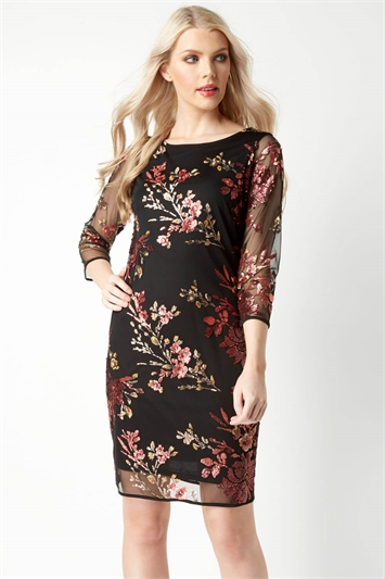 Embroidered Floral Sequin Dress