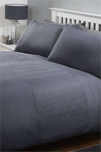 Double Plain and Textured Duvet Cover Set