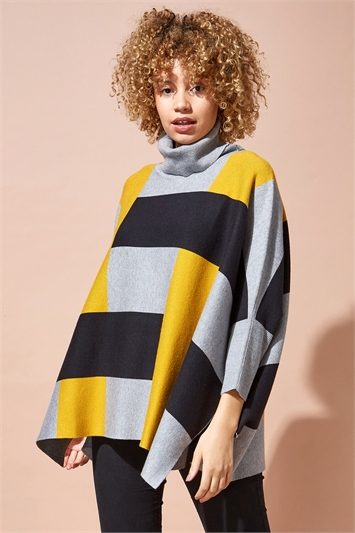 One Size Colourblock High Neck Poncho