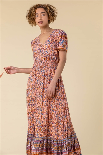 Button Through Floral Maxi Dress
