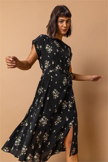 Black Floral Print Belted A-Line Dress