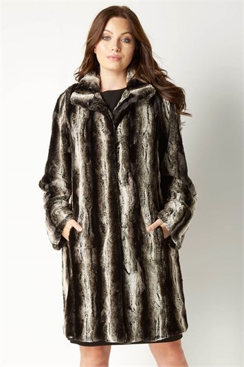 Faux Fur Longline Coat