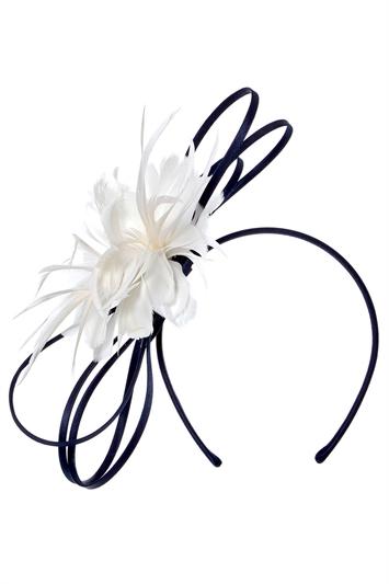 Navy Feather Flower Fascinator