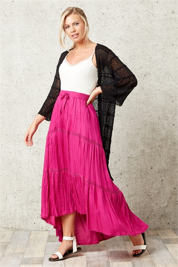 Asymmetric High Low Hem Skirt