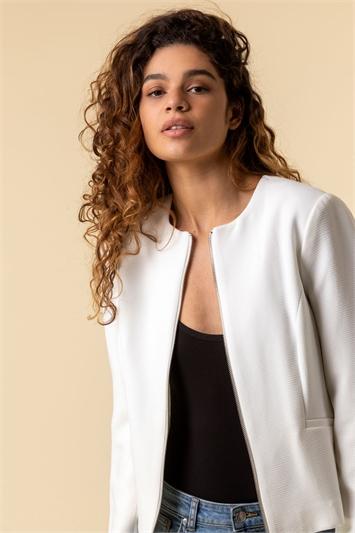 Ivory Zip Through Jacket, Image 1 of 5