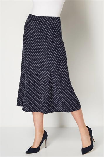 Textured Stripe Midi Skirt