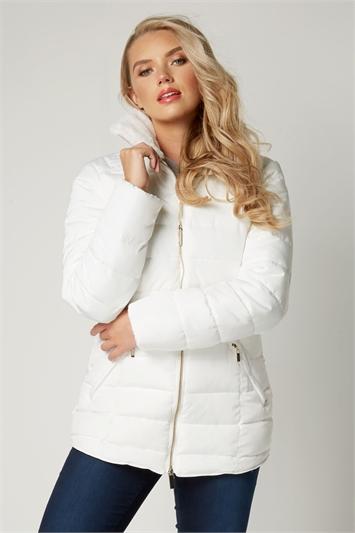 White Short Padded Coat, Image 1 of 3