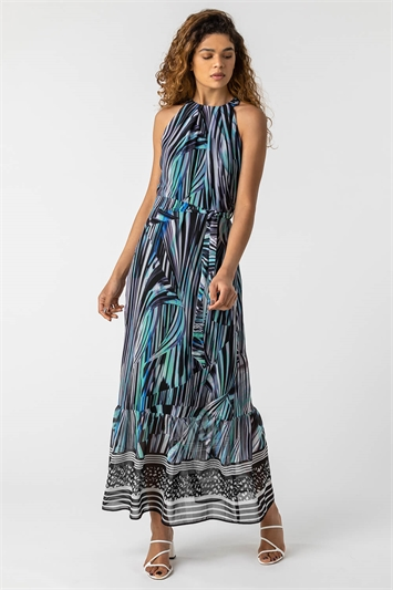 Blue Abstract Stripe Print Halterneck Dress