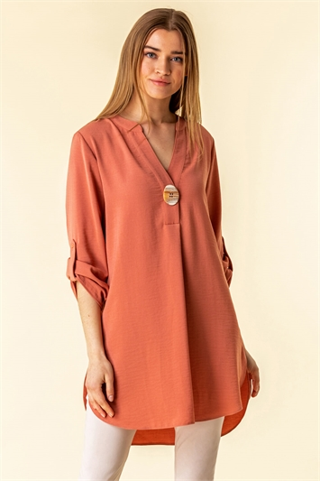 Longline Button Detail Tunic Top